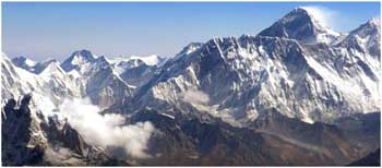 View of Mt. Everest from Mountain Flight